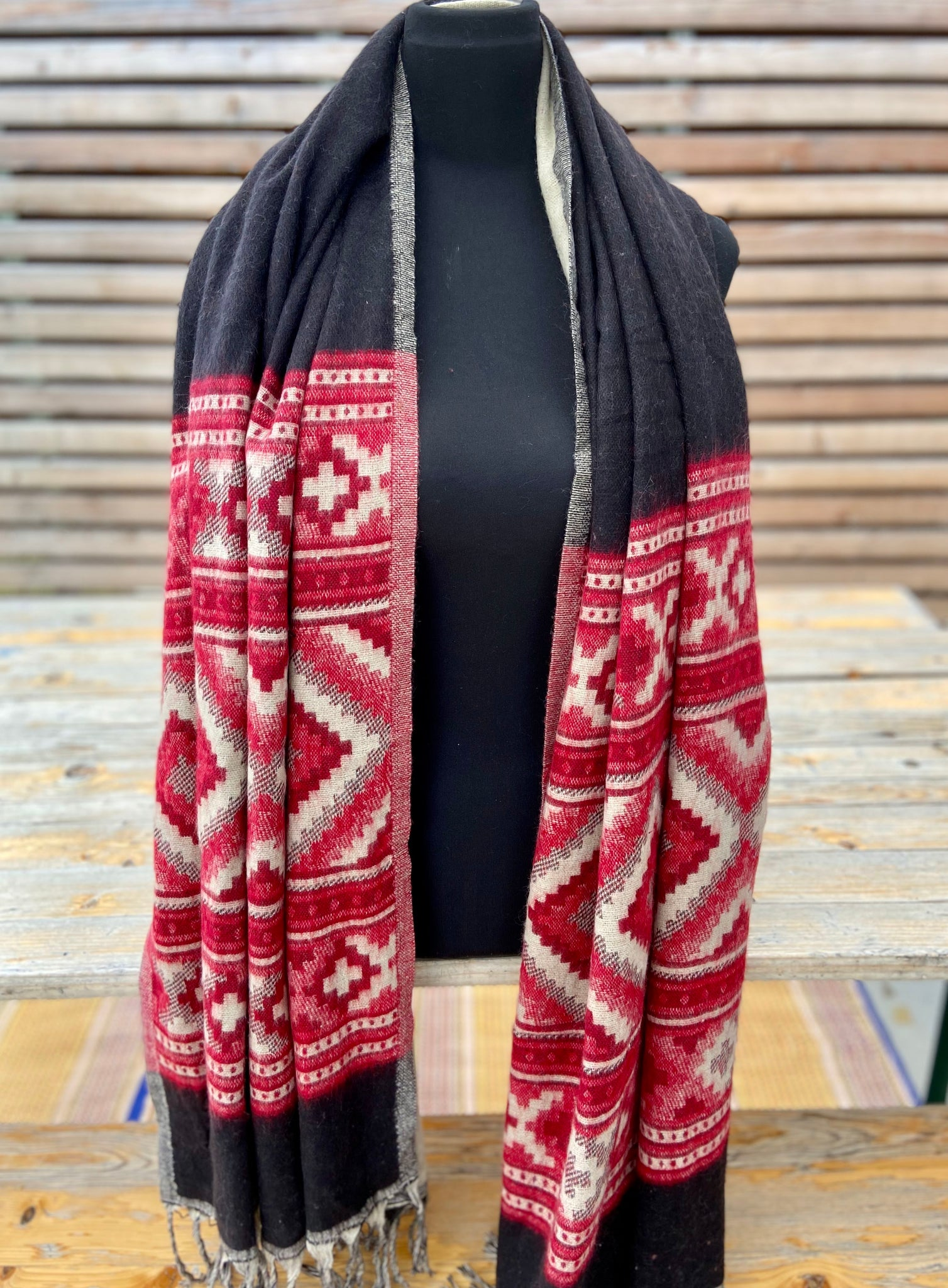 Aztec border boho shawl (reversible in black and tan colors with red pattern)