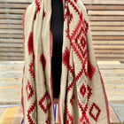 Aztec motifs-1 boho shawl (reversible in red and tan patterns)