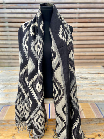 Aztec motifs-2 boho shawl (reversible in black and white patterns)