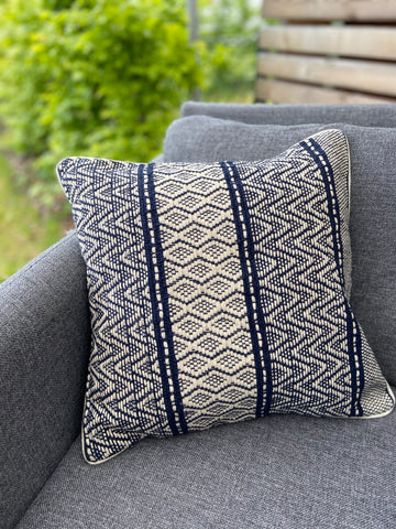 Cushion Cover-wave pattern1 in dark blue and white