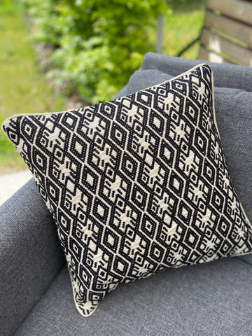 Cushion Cover-diamond pattern1 in black and white