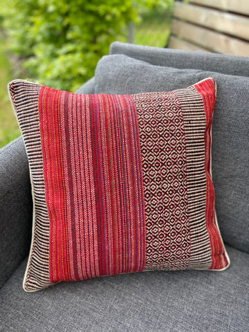 Cushion Cover-border stripes pattern2 in red