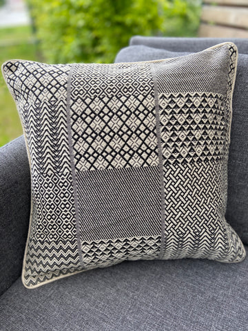 Cushion Cover-block design pattern1 in black and white