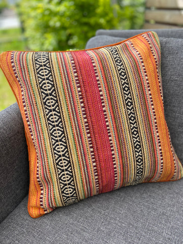 Cushion Cover-border stripes pattern3 in orange