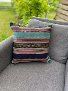 Cushion Cover-border stripes pattern4 turquoise