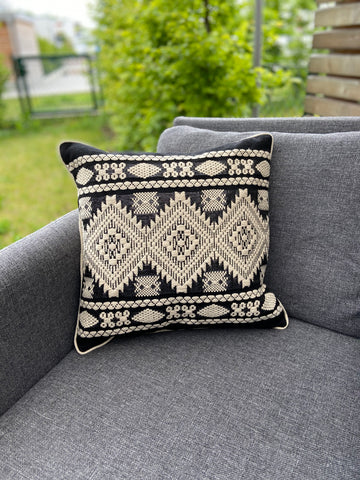 Cushion Cover-Aztec pattern2 in black and white