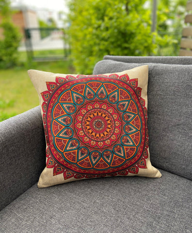 Cushion Cover-Mandala2 in red
