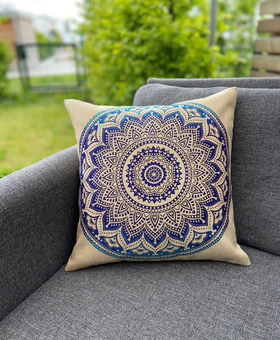 Cushion Cover-Mandala3 in blue