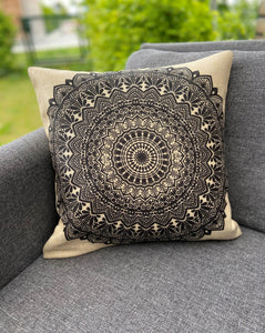 Cushion Cover-Mandala4 in black and white