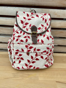 backpack leaf and wine pattern (++ color options)
