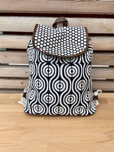 backpack slingbag polka dots with feather pattern
