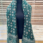 Jamewar boho shawl (reversible in leaf pattern) - hand woven (++ color options)