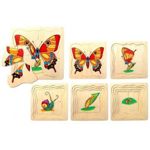 Wooden Butterfly Life Cycle Puzzle - 5 Layer
