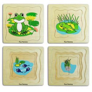 Wooden Frog Life Cycle Puzzle - 4 Layer