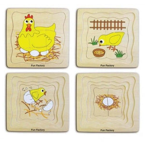 Wooden Chicken Life Cycle Puzzle - 4 Layers