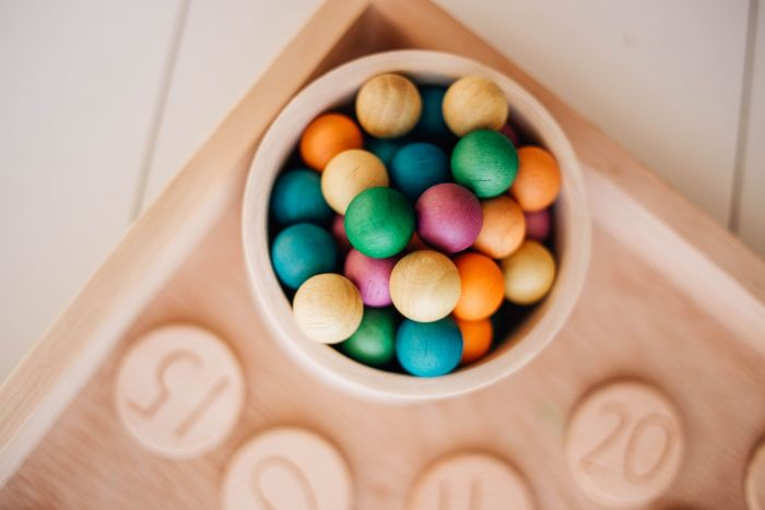 Rainbow Wooden Balls - Set of 50