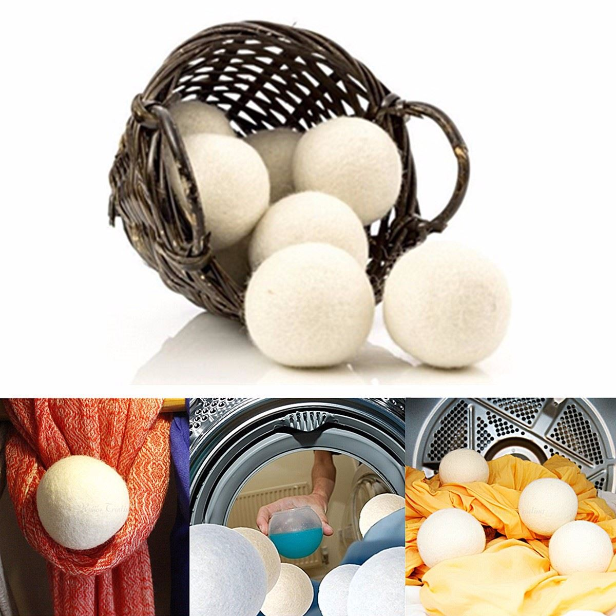 6pcs/pack Reusable Organic Laundry Fabric Softener Ball / Wool Dryer Balls