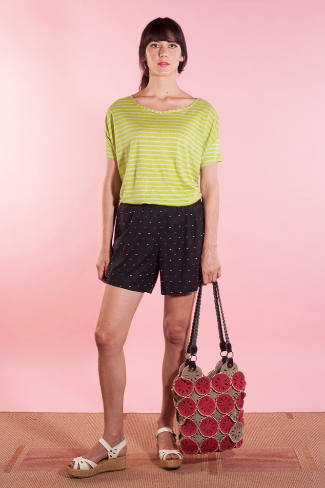 Slouch tee lime stripe/Anita shorts black fleck