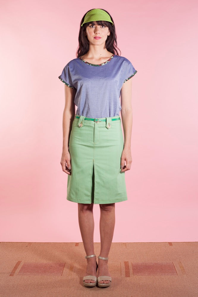 Rebecca top chambray/Dylan skirt lime