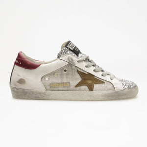 Super-Star Net and Leather Upper Suede Star/Gliiter Toe