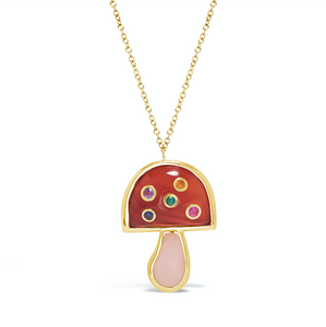 "Mini Mushroom Pendant on 16"" Chain, Carnelian/Pink Opal/Multi"