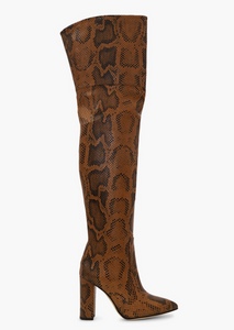 Python Print Over-the-Knee Boot, Cognac