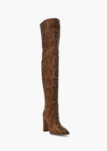 Load image into Gallery viewer, Python Print Over-the-Knee Boot, Cognac