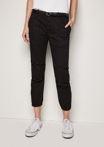 Cropped French Military Pants, Jet Black