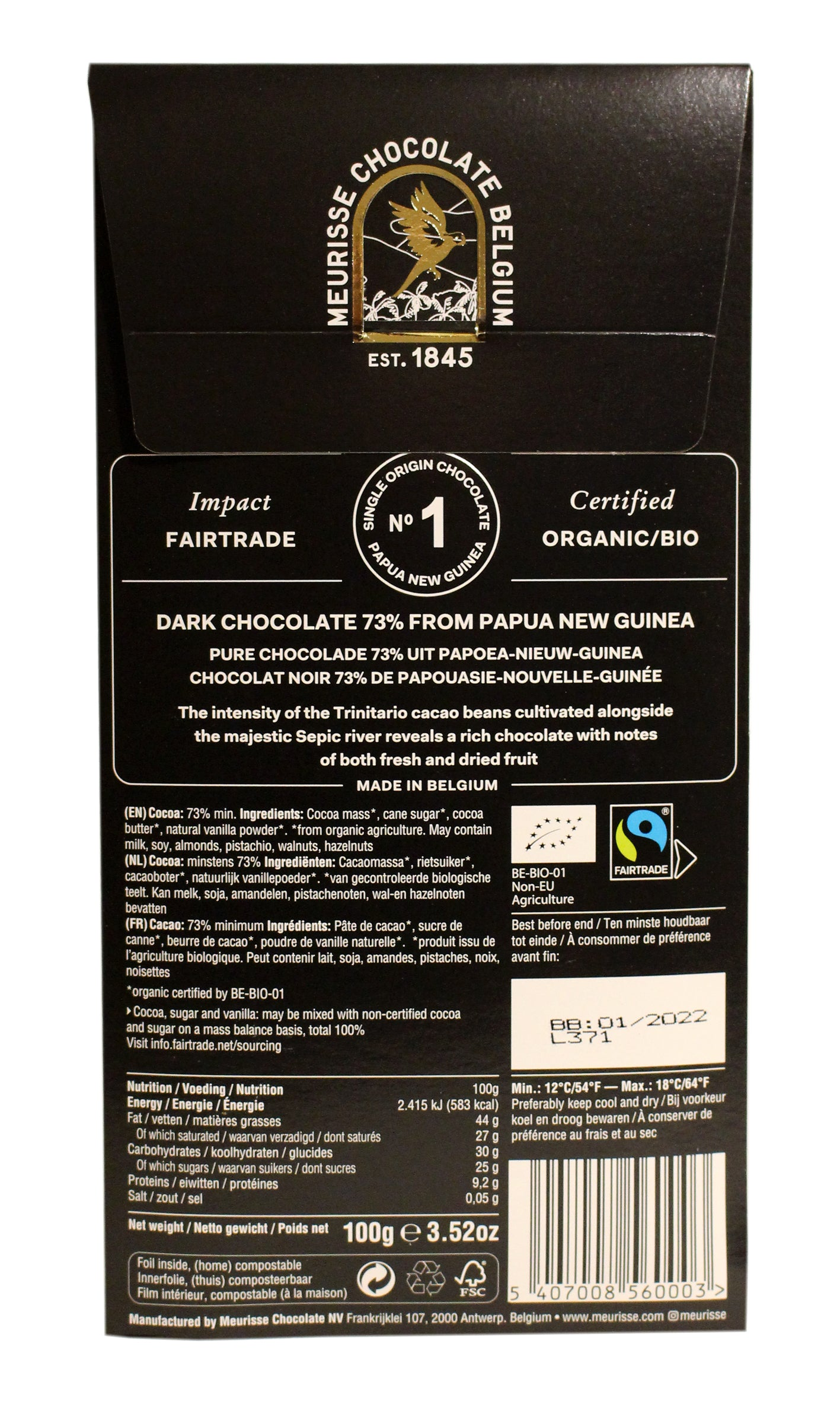 Meurisse - Belgian Dark Chocolate from Papua New Guinea 100g