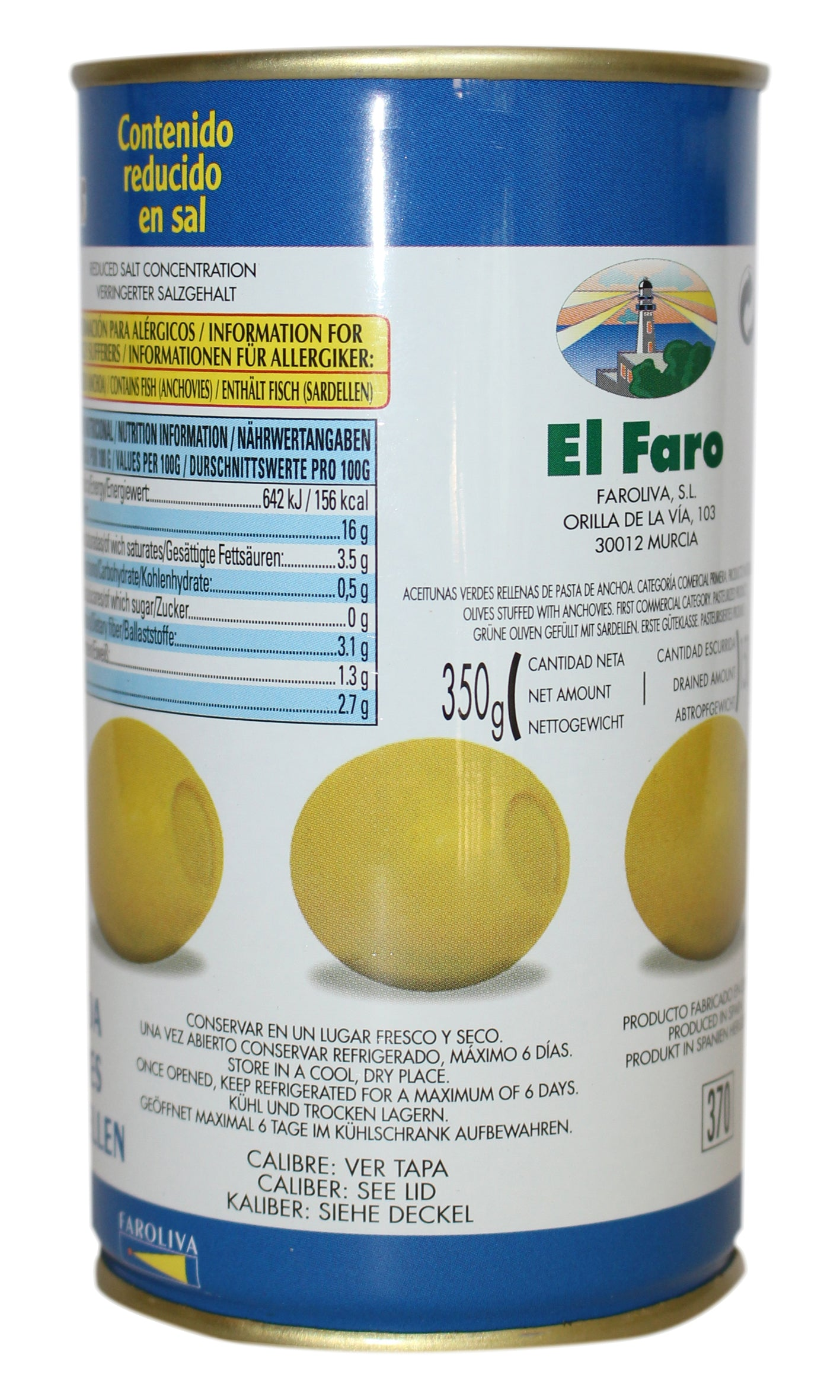 El Faro: Green Manzanilla Olives Filled With Anchovy - 350g