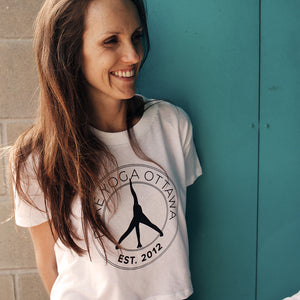 Pure Yoga Cropped Tee - Women - Retro Round Logo - White