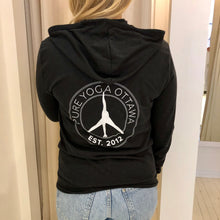 Load image into Gallery viewer, Pure Yoga Hoodie (Unisex) Retro Logo Back - Black