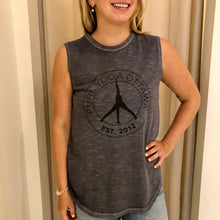 Load image into Gallery viewer, Pure Yoga Large Retro Logo Front Muscle Tank - Women's - Grey