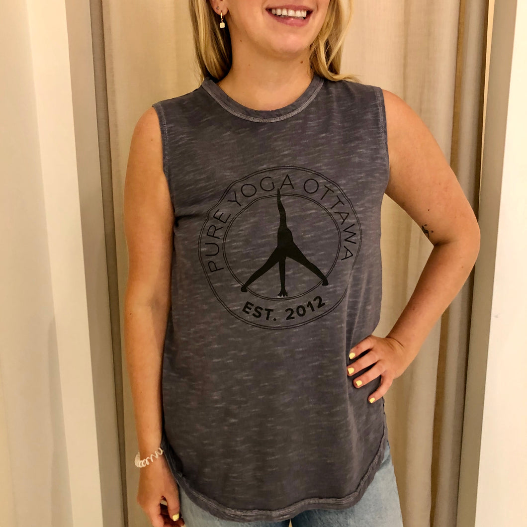 Pure Yoga Large Retro Logo Front Muscle Tank - Women's - Grey