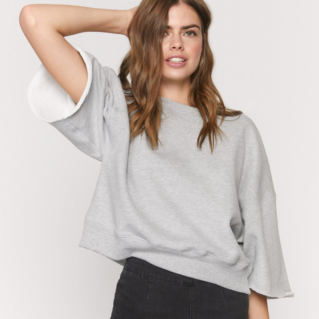 Spiritual Gangster - Laya Raw Sleeve Sweatshirt -Grey