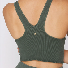 Load image into Gallery viewer, Spiritual Gangster - Amor Crop Tank - Olive Green