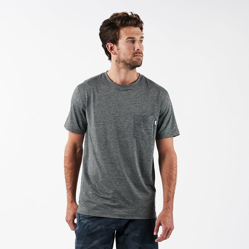 Vuori Mens Tradewind Performance Tee Heather Grey