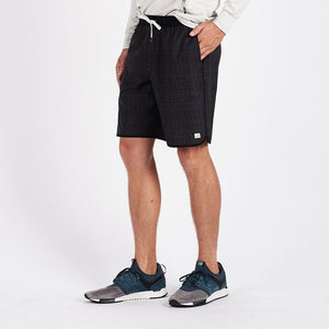 Vuori Mens Banks Shorts  - Black Herringbone