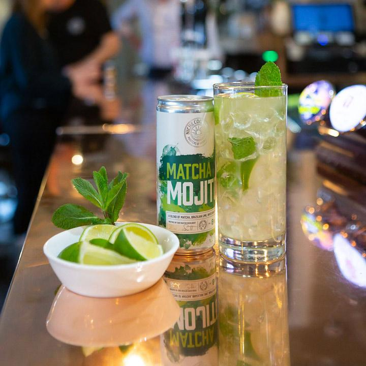 Matcha Mojito Cocktail on Bar