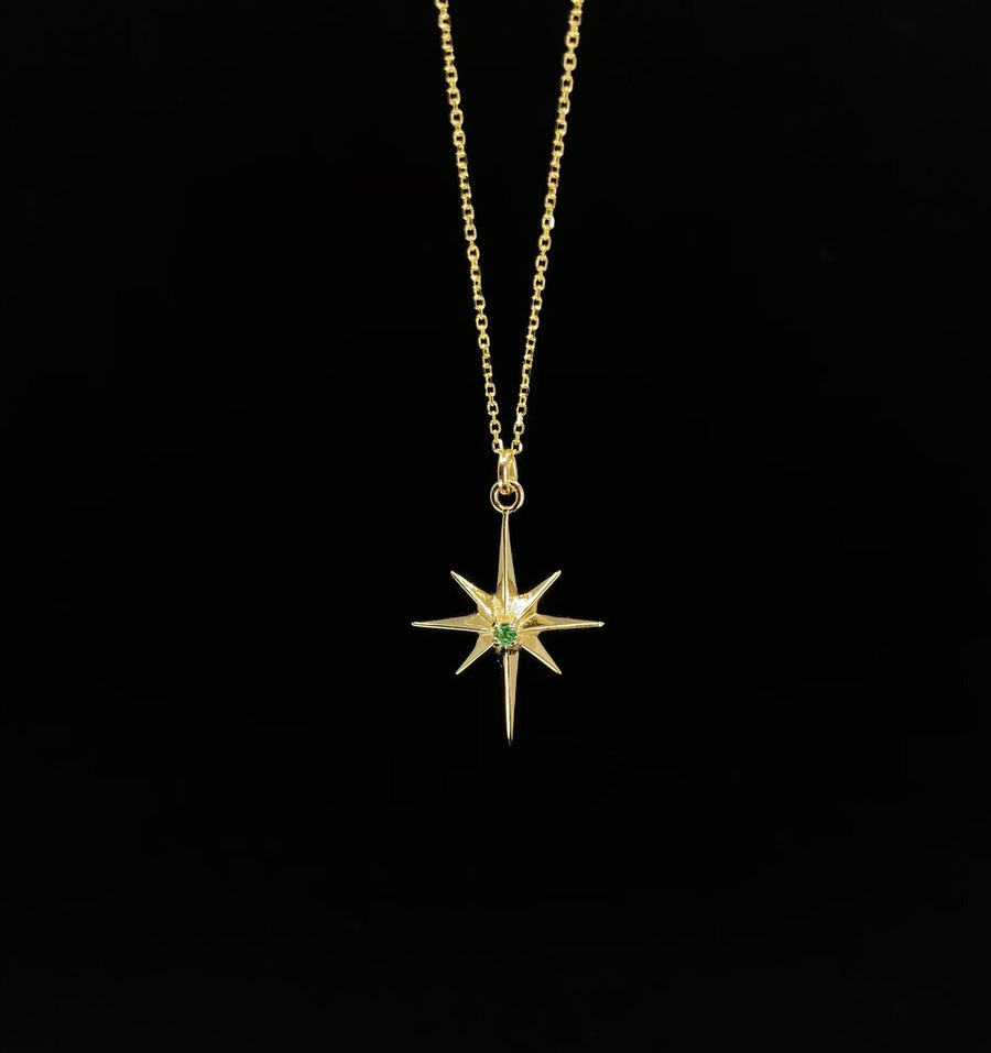 GOLD NORTHERN STAR GEMSTONE PENDANT