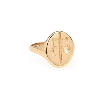GOLD ZODIAC SIGNET RINGS
