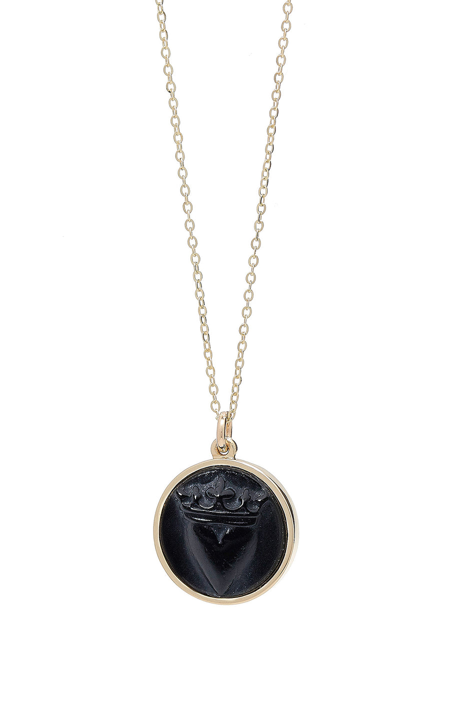 CROWNED HEART RAISED INTAGLIO PENDANT