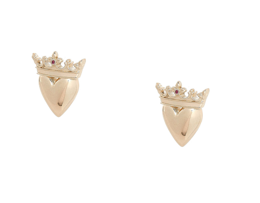 CROWNED HEART EARRING STUD