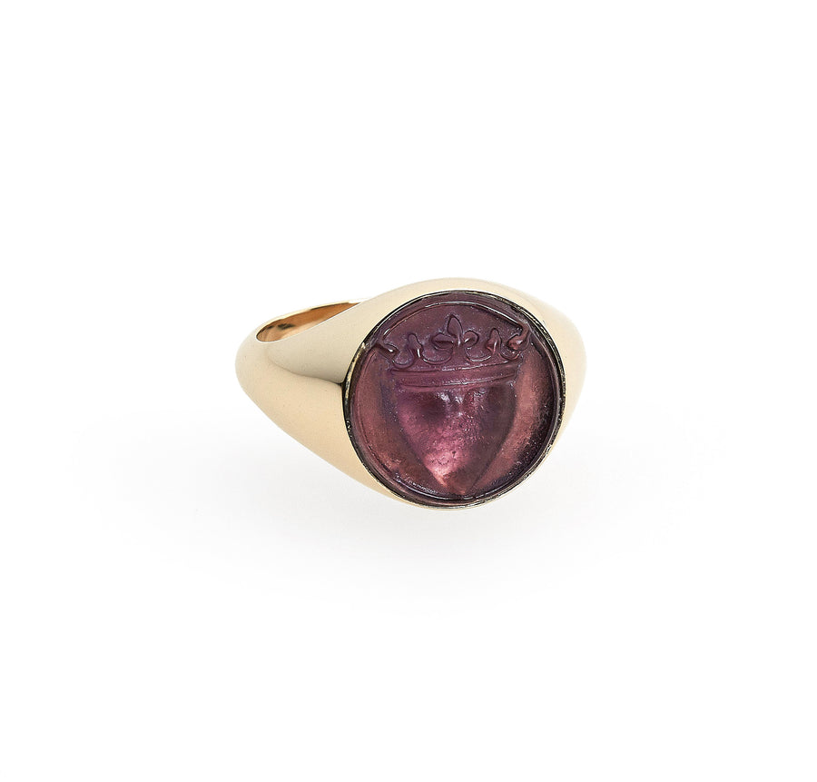 CROWNED HEART RAISED INTAGLIO SIGNET RING