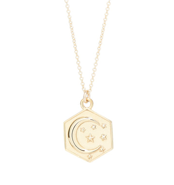 MOON & STARS HEXAGON PENDANT