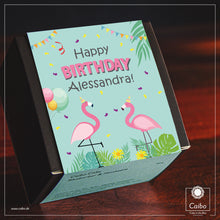 "Laden Sie das Bild in den Galerie-Viewer, Kuchen-Geschenkbox ""Happy Birthday Flamingos"""