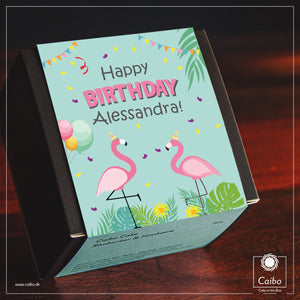 "Kuchen-Geschenkbox ""Happy Birthday Flamingos"""