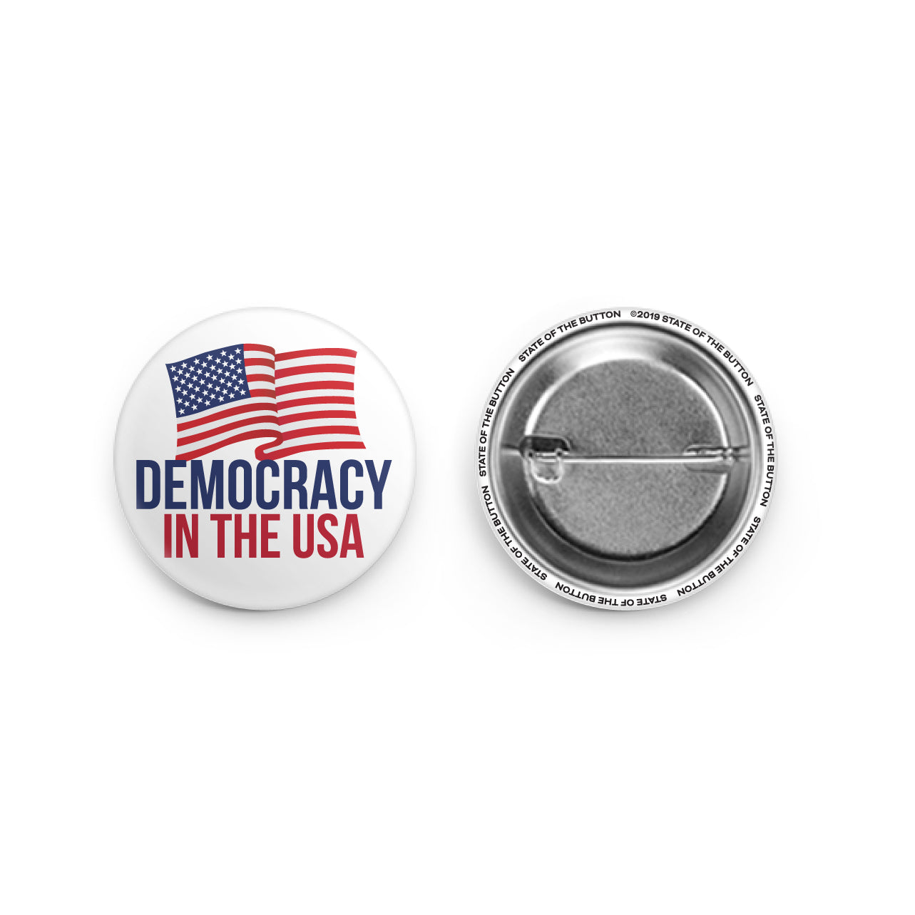 democracy in the usa pinback button