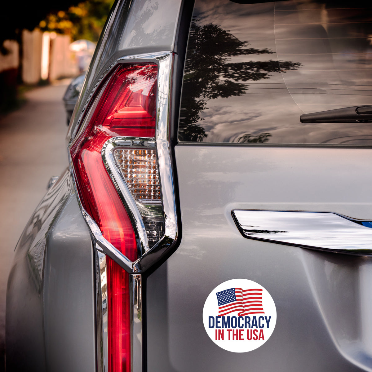 democracy in the usa car magnet on a vehicle