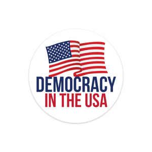 democracy in the usa round bumper sticker